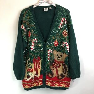 Maggie Lawrence Ugly Christmas sweater cardigan